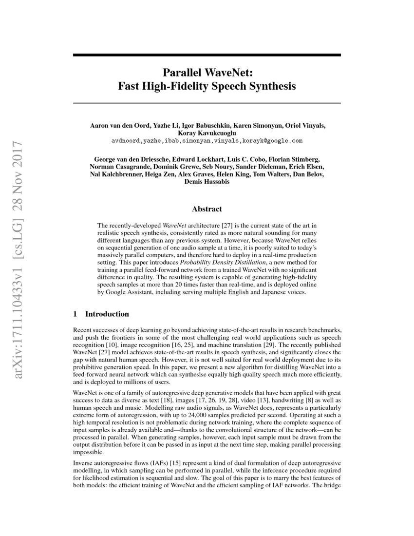 Parallel WaveNet: Fast High-Fidelity Speech Synthesis | DeepAI