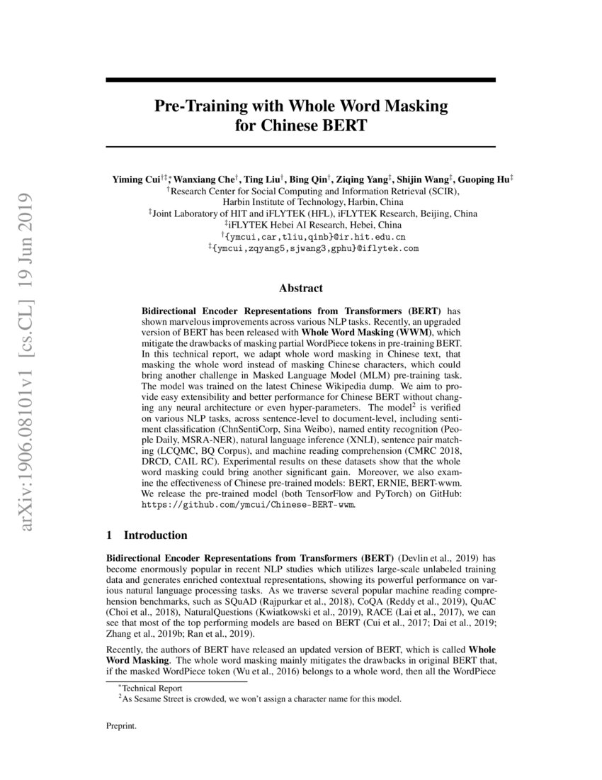 Pre-Training with Whole Word Masking for Chinese BERT | DeepAI