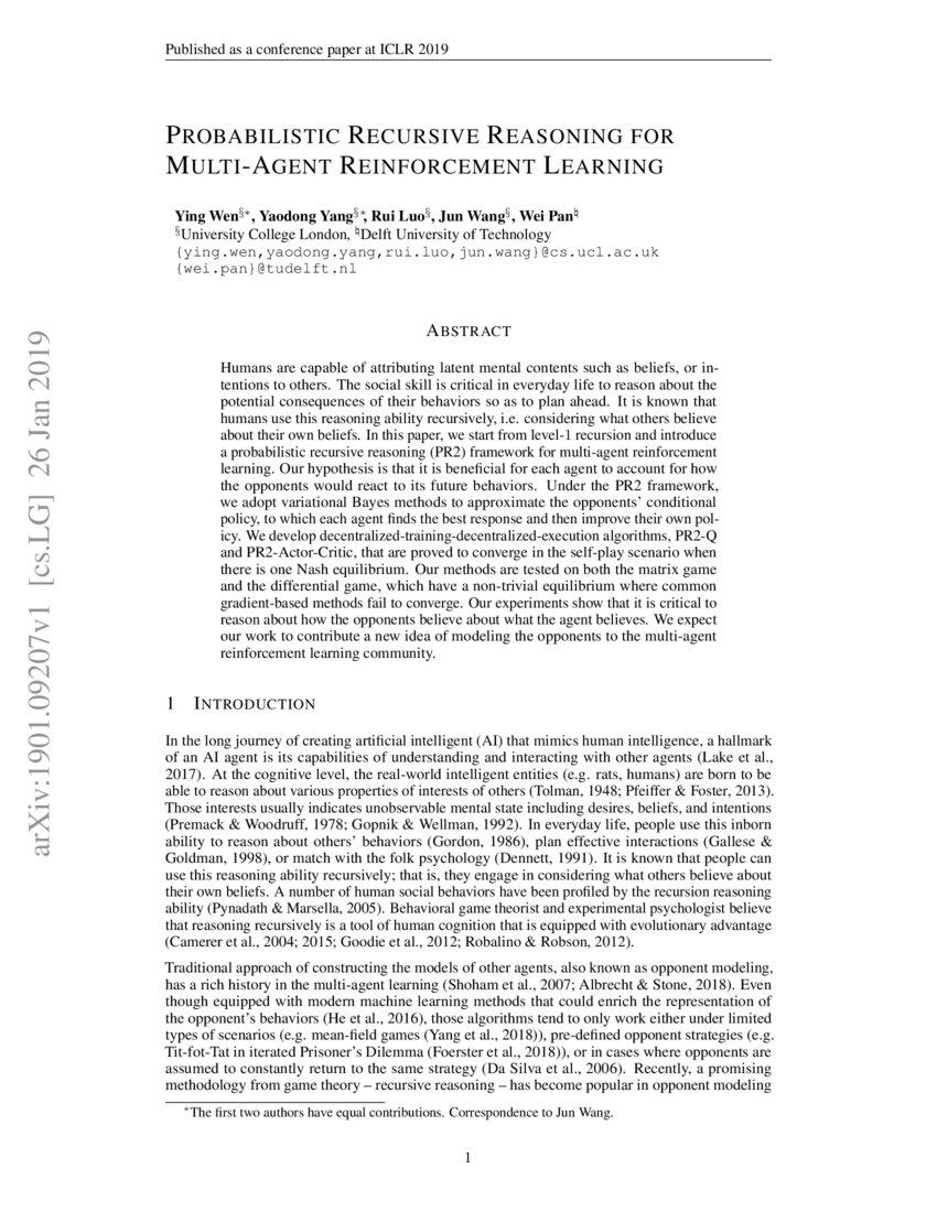 Probabilistic Recursive Reasoning for Multi-Agent