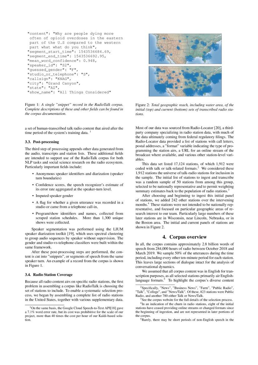 RadioTalk: a large-scale corpus of talk radio transcripts