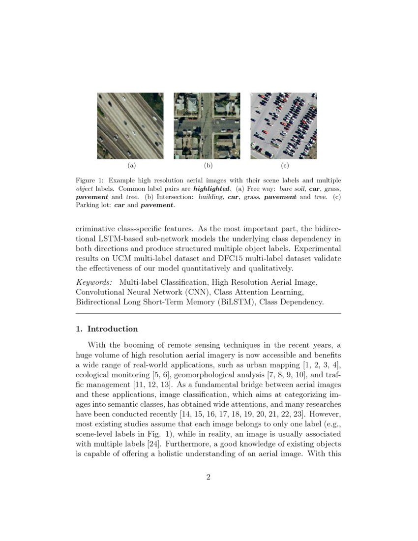 Recurrently Exploring Class Wise Attention In A Hybrid Convolutional And Bidirectional Lstm Network For Multi Label Aerial Image Classification Deepai