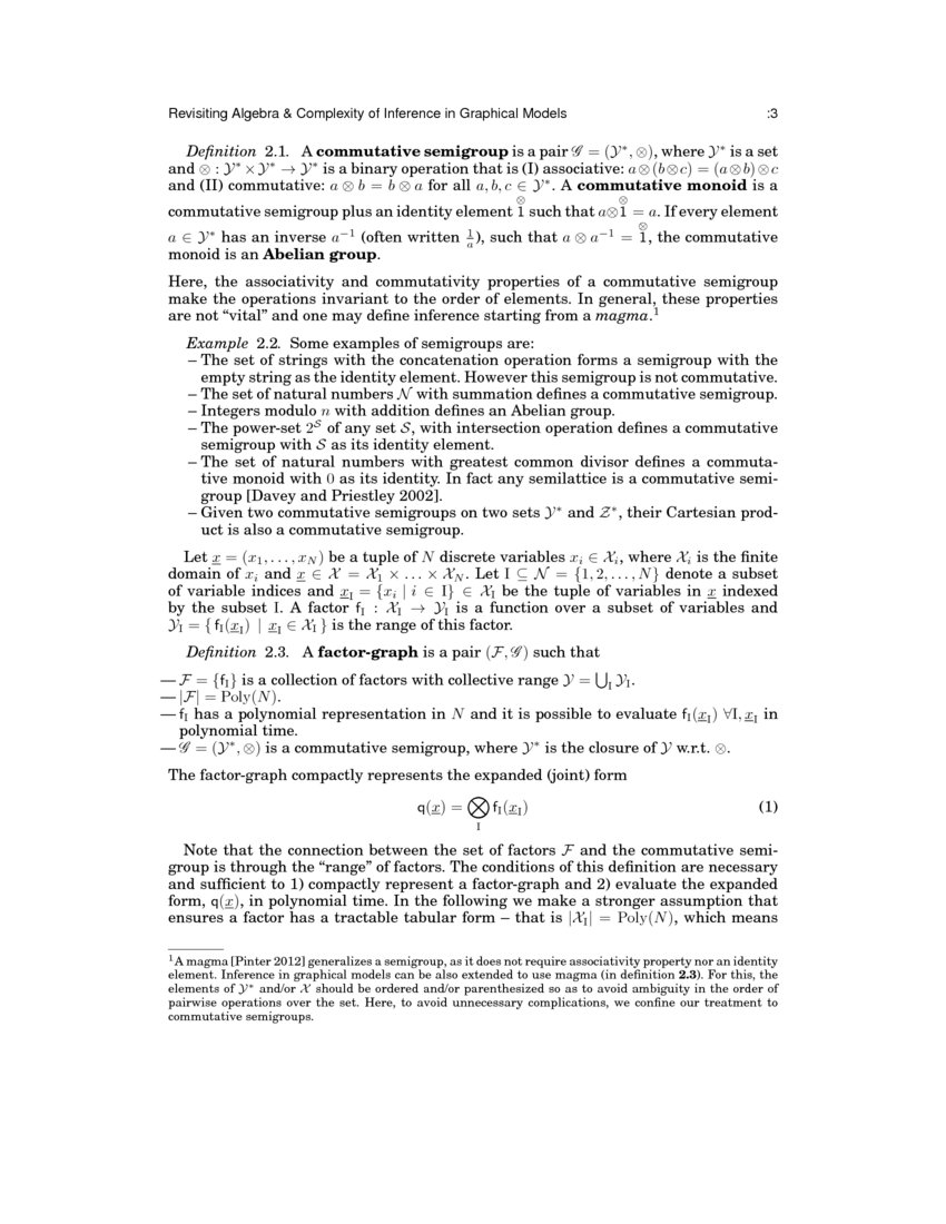 Revisiting Algebra And Complexity Of Inference In Graphical Models