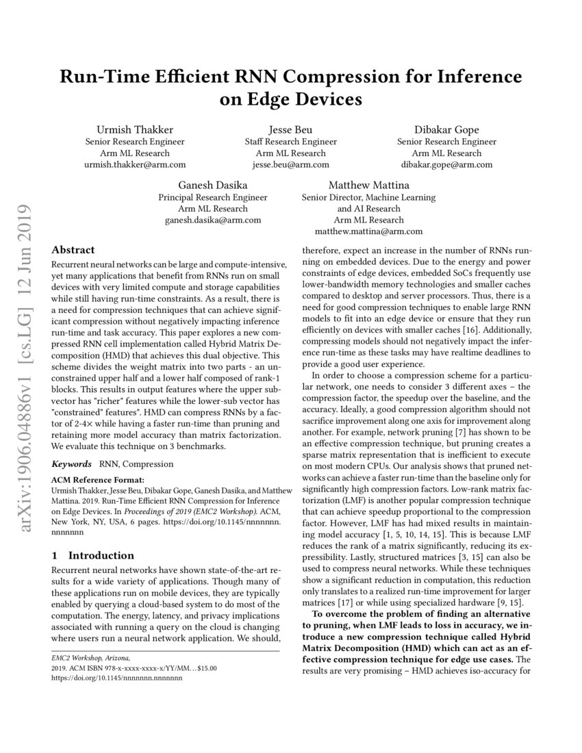 Run-Time Efficient RNN Compression for Inference on Edge