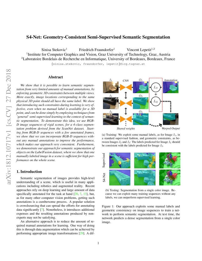 S4-Net: Geometry-Consistent Semi-Supervised Semantic