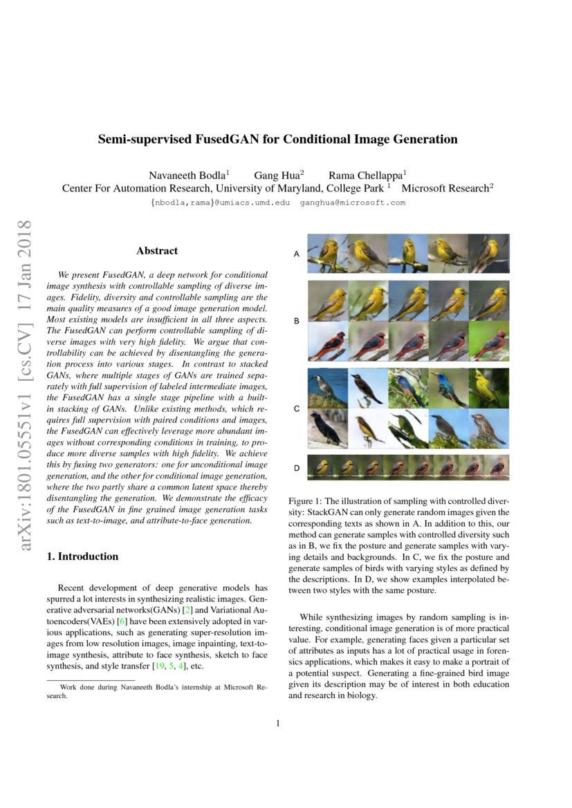 Semi-supervised FusedGAN for Conditional Image Generation | DeepAI