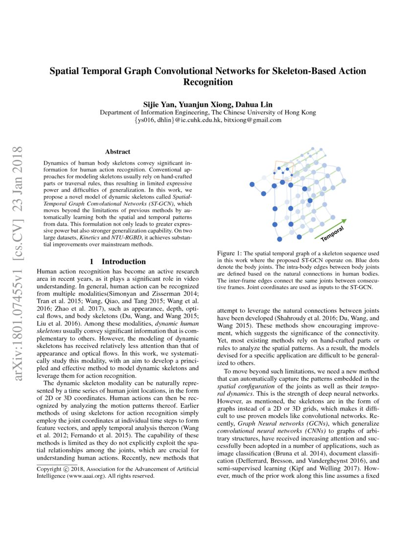 Spatial Temporal Graph Convolutional Networks for Skeleton