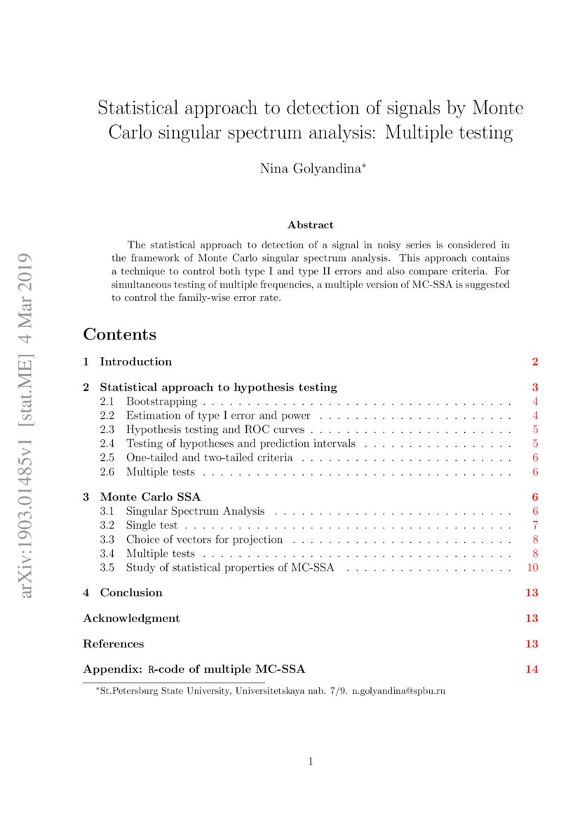 Statistical approach to detection of signals by Monte Carlo singular