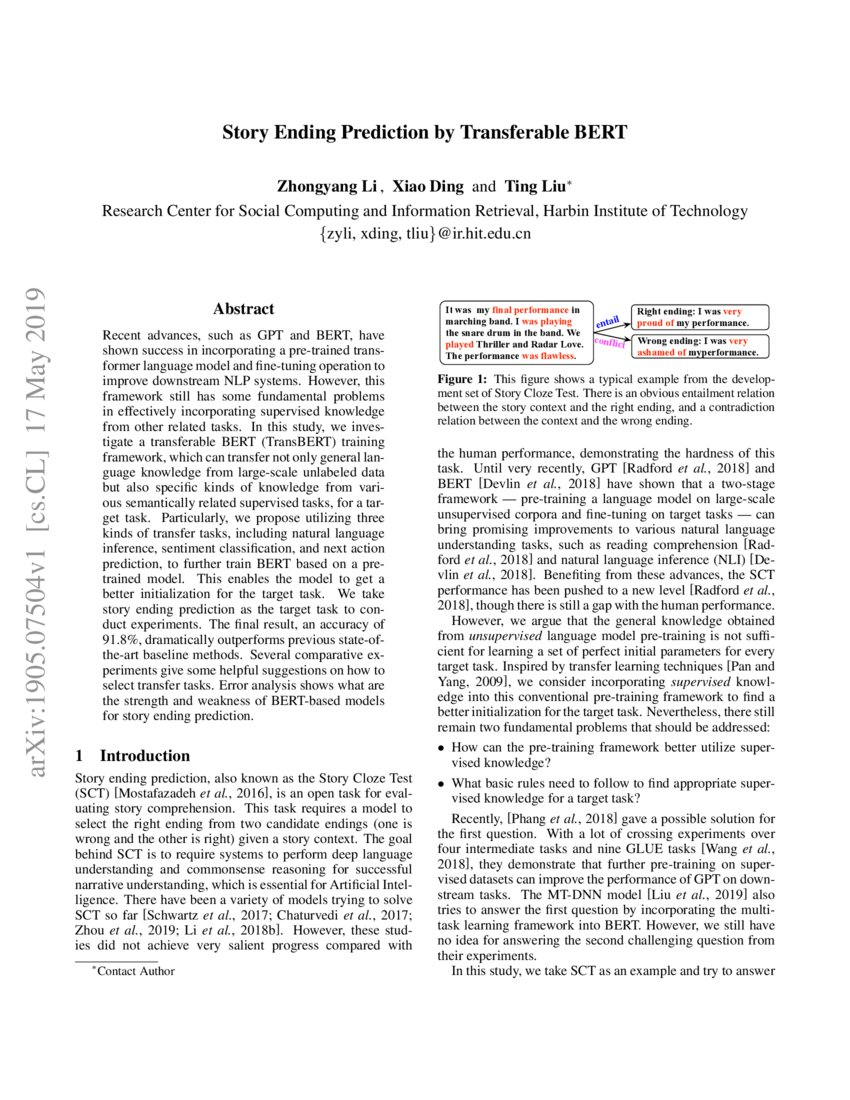 Story Ending Prediction by Transferable BERT | DeepAI