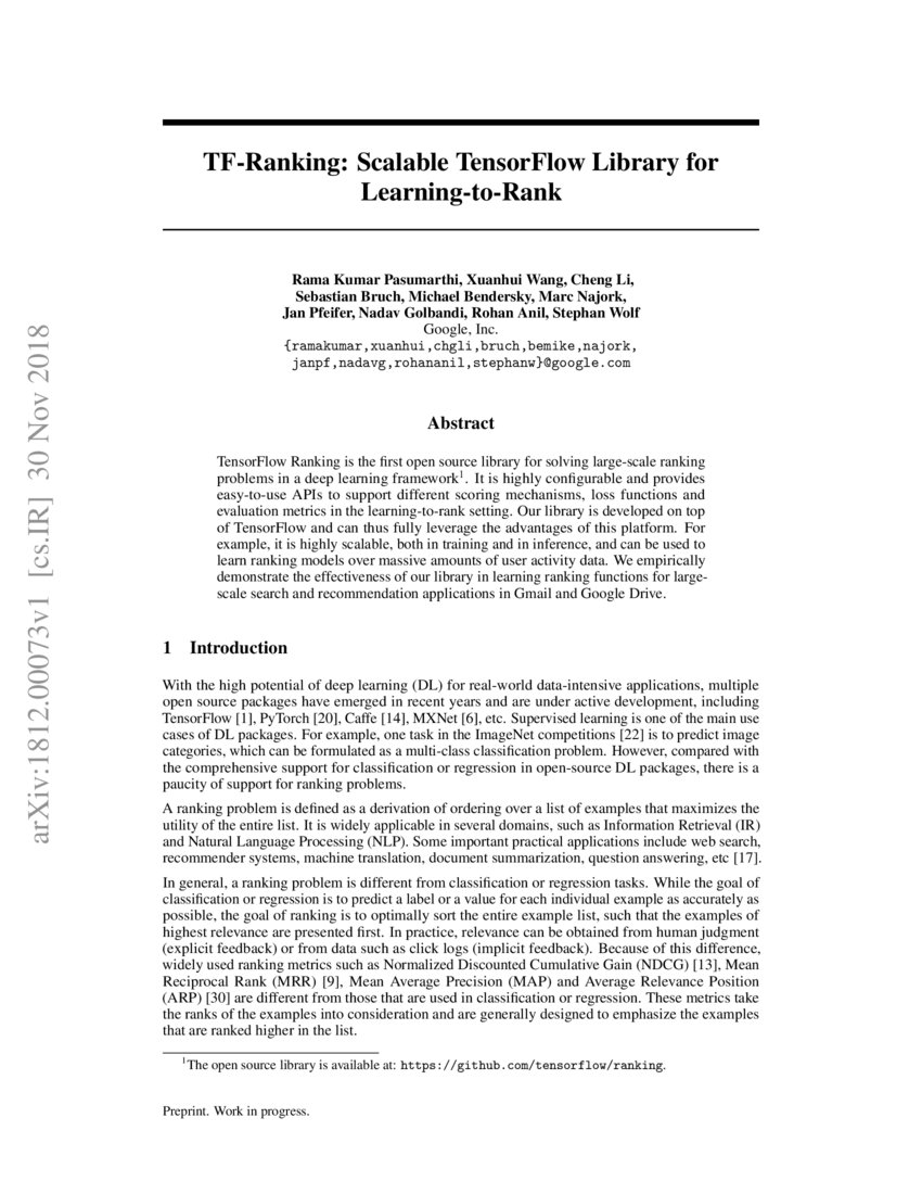 TF-Ranking: Scalable TensorFlow Library for Learning-to-Rank | DeepAI