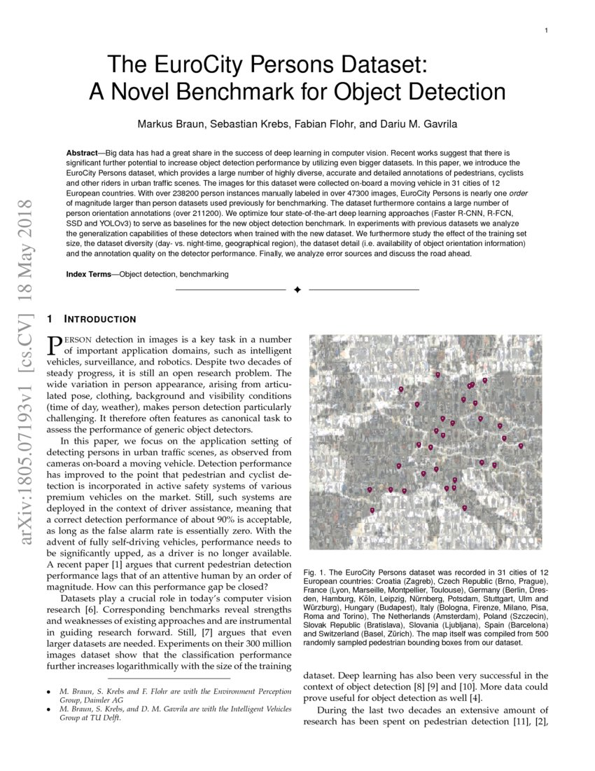 The EuroCity Persons Dataset: A Novel Benchmark for Object Detection