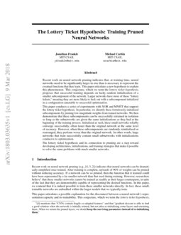 The Lottery Ticket Hypothesis: Training Pruned Neural Networks | DeepAI