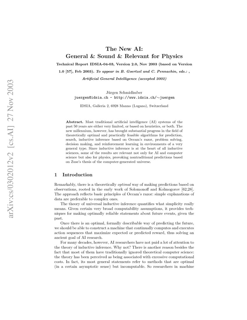 The New AI: General & Sound & Relevant for Physics | DeepAI