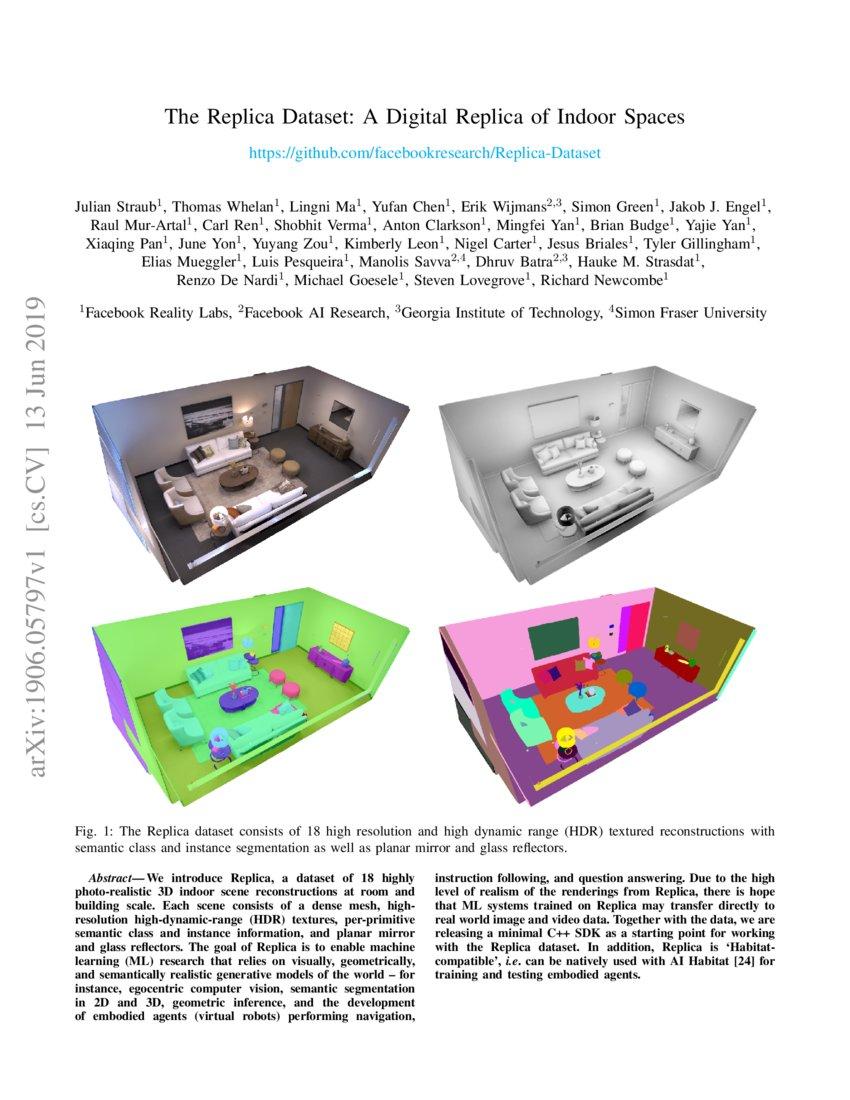 The Replica Dataset: A Digital Replica of Indoor Spaces   DeepAI