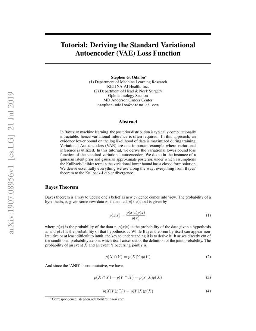Tutorial: Deriving the Standard Variational Autoencoder (VAE