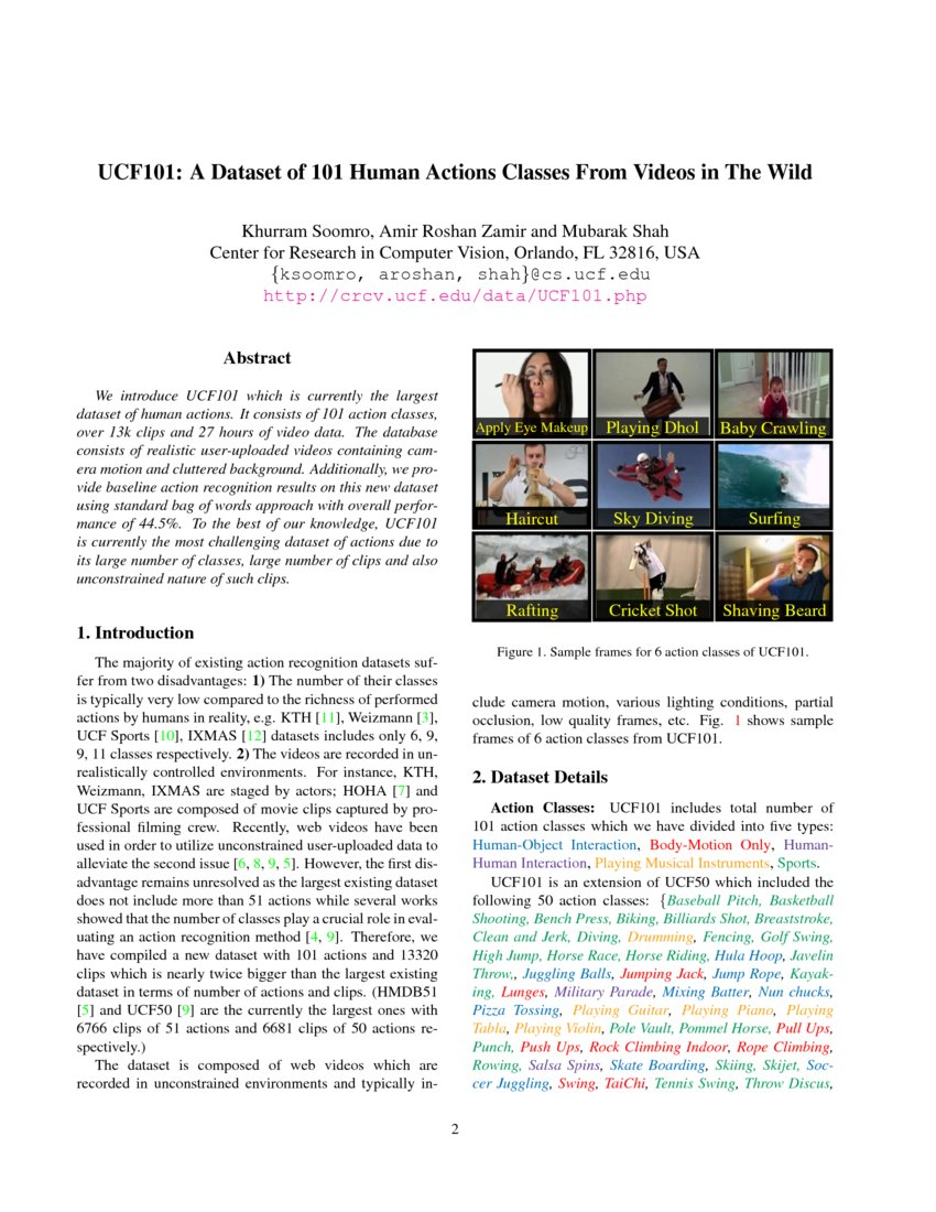 UCF101: A Dataset of 101 Human Actions Classes From Videos
