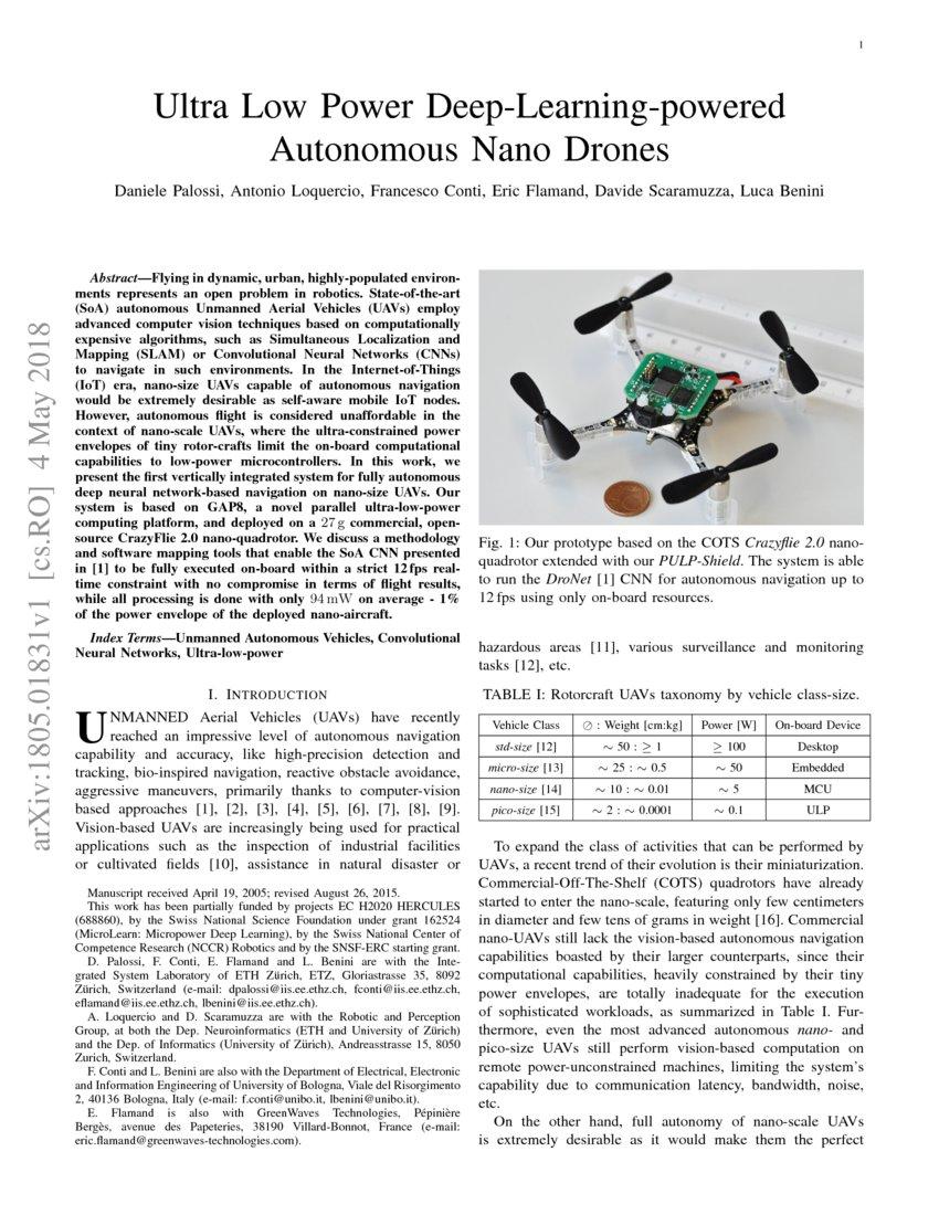 Ultra Low Power Deep-Learning-powered Autonomous Nano Drones