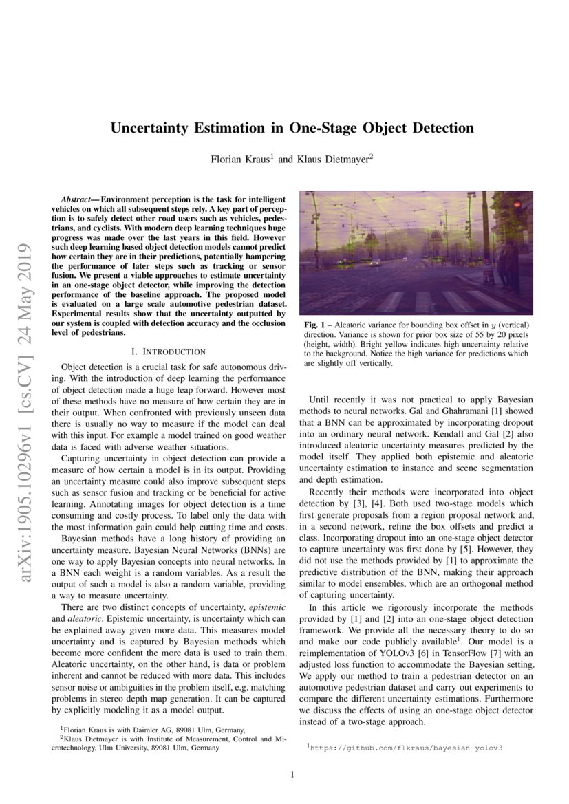 Uncertainty Estimation in One-Stage Object Detection | DeepAI