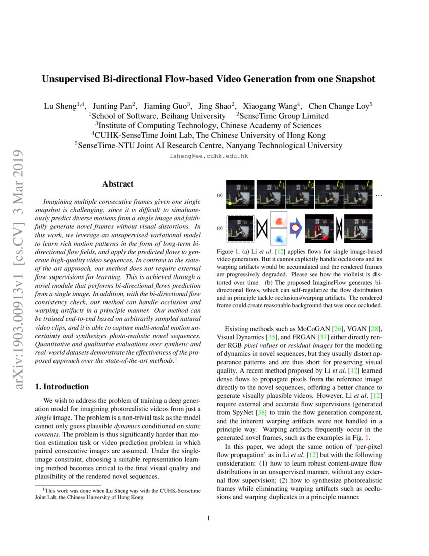 Unsupervised Bi-directional Flow-based Video Generation from