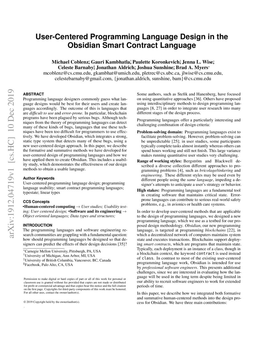 User Centered Programming Language Design In The Obsidian Smart Contract Language Deepai