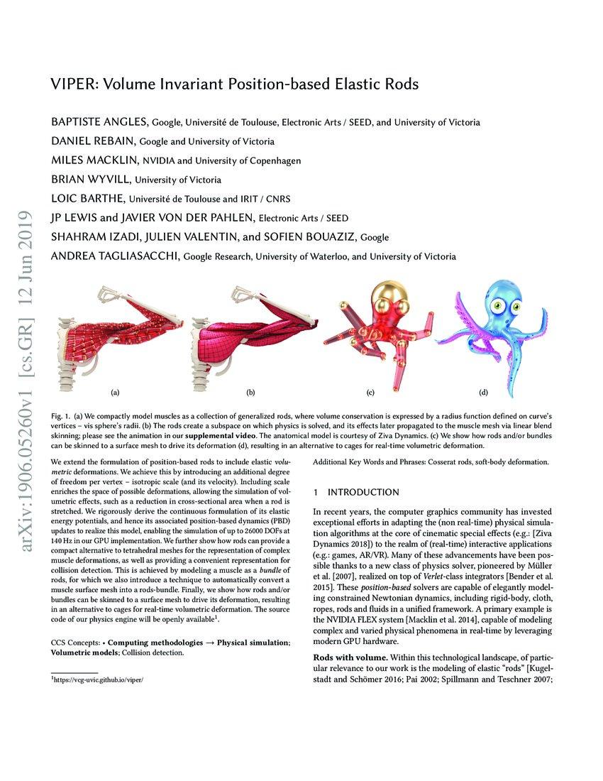 VIPER: Volume Invariant Position-based Elastic Rods | DeepAI