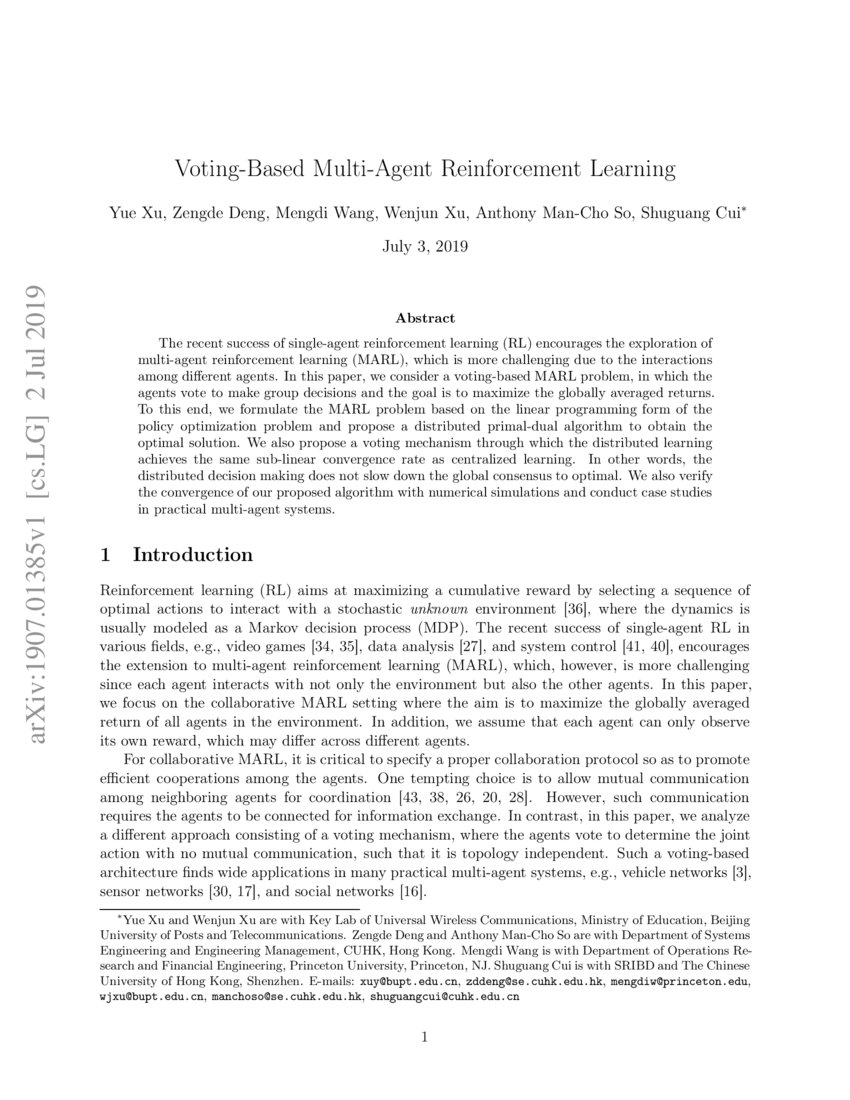 Voting-Based Multi-Agent Reinforcement Learning | DeepAI
