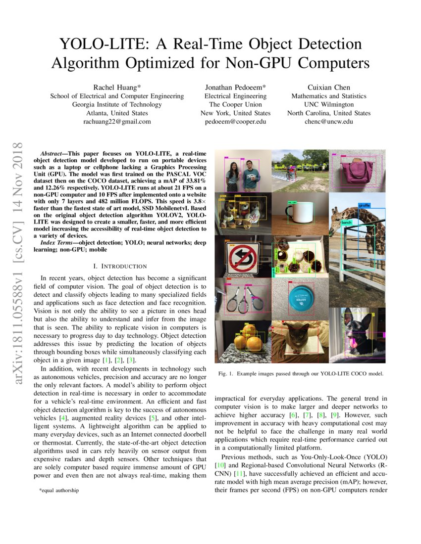 YOLO-LITE: A Real-Time Object Detection Algorithm Optimized